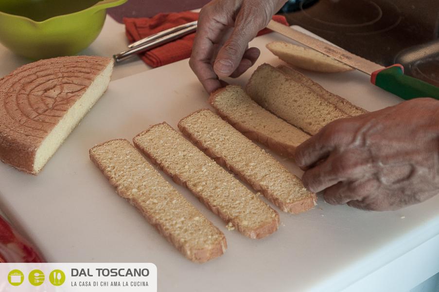 tagliare pan di Spagna a fette