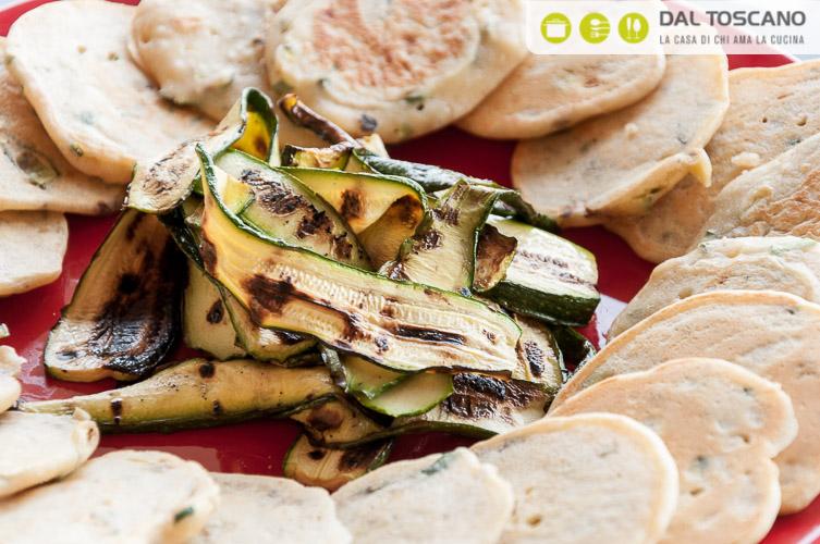 zucchine grigliate e pan cake