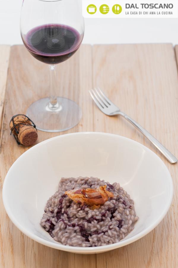 Ricetta risotto al parmigiano con pancetta croccante e ristretto di Lambrusco Mopso Elisabetta Arcari
