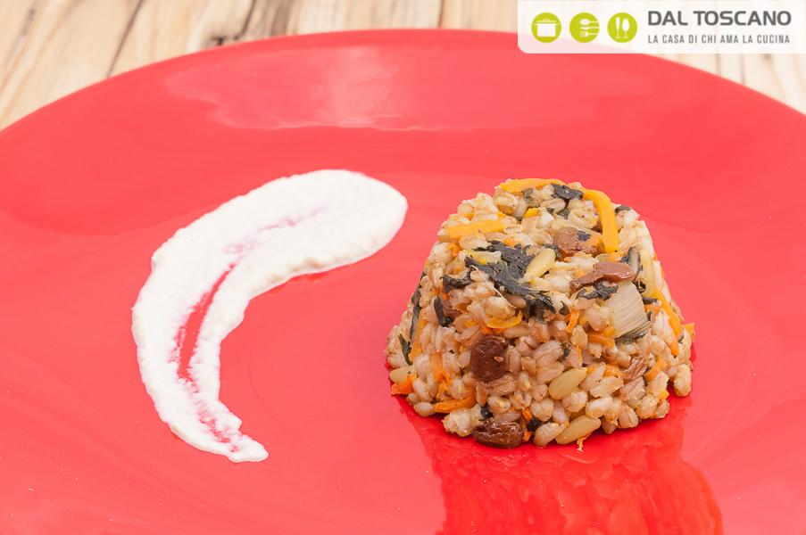 Ricetta sformato farro e verdure con crema di finocchi al curry Sara Codeluppi